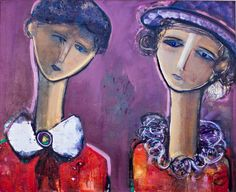 """""""On the Same Wavelength"""" ow.ly/6nFJ304tg6B by Conchi Ororbia portrays the concept of friendship, and how even on a grim day, if you have a friend by your side, you can get through it. This figurative painting is composed in shades of purple and red. #ConchiOrorbia #Spain #oilpainting #watercolor #acrylic #figurative #expressionist #fineart #Colorful #MahlstedtGallery #nyc #artoftheday #picoftheday #interiordesign #decor #digitalart #Artforhome #décor #NewYork #usa """