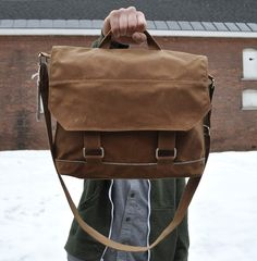 Handcrafted Waxed Canvas man bag