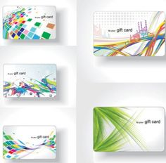 Colorful material flow business cards vector Free Vector