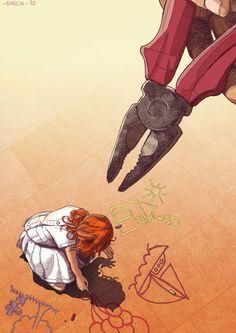 Art by Daniel Garcia - Society's Pliers (education, girl, artist, illustration, drawing, orange, red)