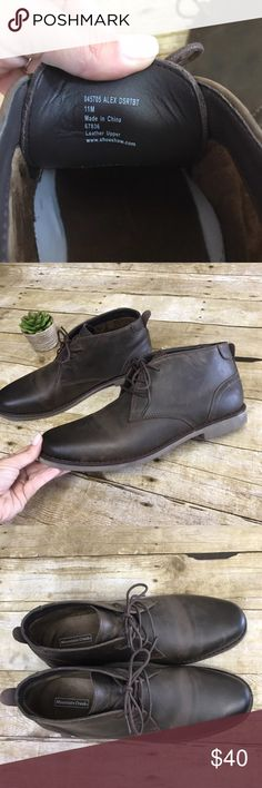 Men's Brown Leather Chukka Boots SZ 11 Like new, Mountain Creek brown leather lace up Chukka Boots, Size 11. Very minor signs of wear to leather and soles as pictured. Mountain Creek Shoes Chukka Boots