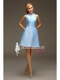26887e36329 Girls Blue Prom Simple Satin Short A-Line With Straps Graduation Dress -  US 85.99 - Style G0800 - Graduation Girl