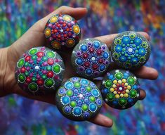 Handful of colourful mandala stones #elspethmclean #mandala #stones #rainbow