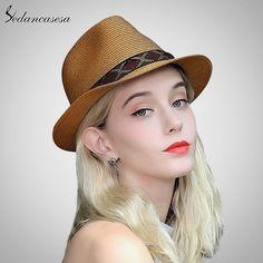 fedora Hats for woman men summer straw short brim hat beach UV sun hat  shopping holiday leisure jazz hat SM093008 -  beach  Brim  Fédora  hat  hats   Holiday ... 9bd3ecaade60