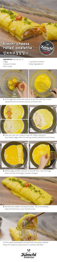 Kimchi Cheese Rolled Omelette