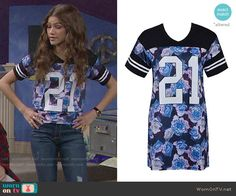 KC's floral '21' top on KC Undercover. Outfit Details: http://wornontv.net/51612/ #KCUndercover (altered)