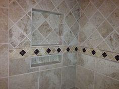 Varied size double shelf, recessed shelf, diamond pattern, decorative tile border. Recessed Shelves, Decorative Tile, Diamond Pattern, Tile Floor, Flooring, Texture, Shelf, Crafts, Detail