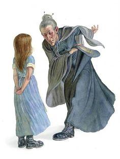 Granny Weatherwax and Eskarina from Equal Rites, a Discworld novel by Terry Pratchett - artist Stephen Player ~ Ʀεƥɪи╭•⊰✿ © Ʀσxʌиʌ Ƭʌиʌ ✿⊱•╮(looks like Tiffany... if it was Esk I would think she'd have her staff)