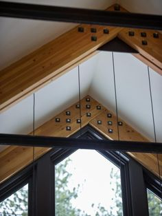 exposed timber trusses