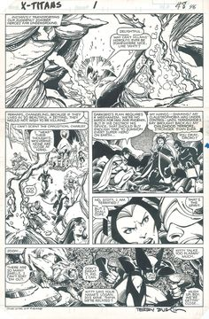 A page from MARVEL AND DC PRESENT X-MEN AND THE NEW TEEN TITANS by Walt Simonson and Terry Austin.