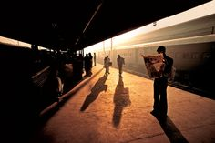 Sunset at Indian train station