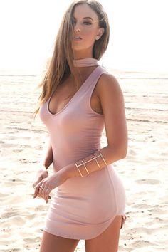 Oliver Neck Tie Dress - Blush
