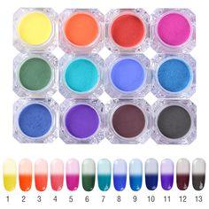 1 box born pretty thermische pigment 1g temperatur farbwechsel glitter pulver maniküre nail art gradienten pulver