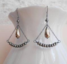 Isabel fan oxidized sterling silver gemstone earrings wire