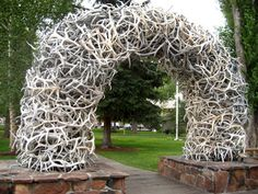 elk horn arch in Jackson Hole, Wyoming. Elk Horns, Jackson Hole, Boy Scouts, Wyoming, Burlap Wreath, Places Ive Been, Arch, Shed, Outdoor Structures