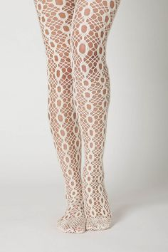 Anthropologie battenberg tights in cream $48. I swore off tights after 13 years of dance, but lately I've been DRAWN to them!