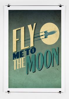 Fly Me To The Moon Vintage Poster Retro by twenty21onecreative