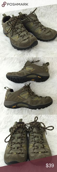 """Merrell Siren Sport Hiking Shoes size 9.5 Merrell """"Siren Sport Goretex XCR/Brindle"""" hiking trail shoes, women's size 9.5 Leather/textile upper, Textile lining, Rubber sole Light brown, beige, gray Water proof Aegis antimicrobial lining Padded collar and tongue Breathable mesh  Gore-Tex Omni-lace system Ortholite insoles Textured  Good condition (some wear on outside around toe area and edges by sole, see images for specifics) inside like new! Merrell Shoes Sneakers"""