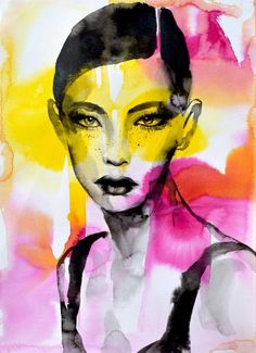 "Saatchi Art Artist natalia berglund; Female Portrait Painting, ""Ink portrait"" #art"