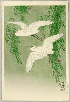 """Two Egrets and Willow Tree"" (1926) Ohara Koson"