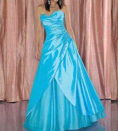 Blue A-Line/Princess Strapless,Sweetheart Empire Long/Floor-length Sleeveless Split Front Taffeta Zipper Up Prom Dresses Dress Blue Grad Dresses, Casual Dresses, Formal Dresses, Satin, Dress Picture, Quinceanera Dresses, Dream Dress, Strapless Dress Formal, Ball Gowns
