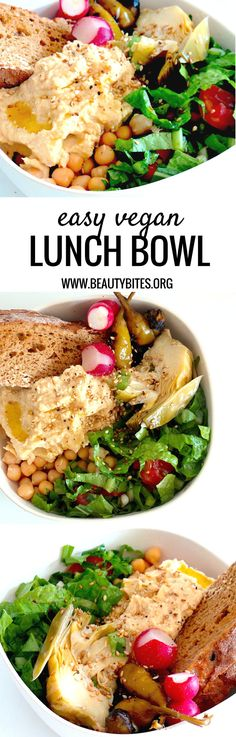Healthy and easy vegan lunch bowl! This one's easy to meal prep, but even if you forget to meal prep (or don't like to do it) - you can throw together this healthy lunch in 10 minutes (or less). Take it to work or anywhere you want. Feel free to leave out ingredients you don't like and add the healthy foods you love. This easy lunch recipe is vegan, antioxidant-rich and high-fiber.