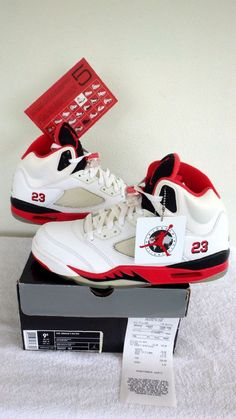 2006 Nike Air Jordan 5 Retro V White Fire Red Black 136027-162 DS Sz 9.5 Receipt…