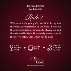 Wine Rule 1: Whatever dish you pick, use it to bring out the best characteristics of the wine. High tannin wine + fatty dish + sweet cherry notes. Jacob's Creek