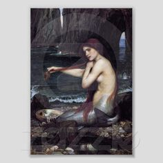 A Mermaid was painted in 1901 by John William Waterhouse, born in Rome, Italy on April 6th, 1849, was an English, Pre-Raphaelite painter and draftsman. Many of my personal favorites of Waterhouse's paintings depict classical mythology, historical and literary subjects where femme fatale is a common theme in his works.