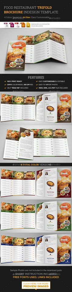 Food Restaurant Bifold Brochure InDesign Template #design #broschüre ...