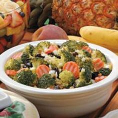 Raisin Broccoli Salad. Why the hell would anyone put carrots in broccoli salad?? I left them out, along with the bell pepper and onions. It could use a little less sugar, and instead of walnuts I used sunflower seeds. Then it was perfect!