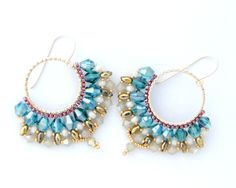 Beadwork Hoop Earrings / Hoop Earrings / Swarovski by Ranitit