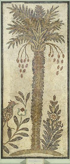 Roman Mosaic of Date Palm Tree, 6th century C.E.; Stone and mortar, 3.5x87.9x188.4 cm | Brooklyn Museum