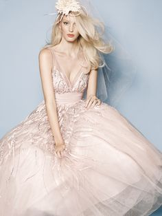 Beaded v-neck dress in whisper pink tulle and silk taffeta | Watters Bride Spring 2013 Collection