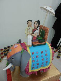 Indian Elephant Wedding Cake by Prabs Sweet Treats Beautiful Wedding Cakes, Beautiful Cakes, Amazing Cakes, Indian Wedding Cakes, Indian Weddings, Cake Pictures, Cake Pics, Travel Cake, Fantasy Cake