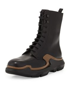 Runway Lace-Up Leather Boot, Black/Brown by Prada at Neiman Marcus.