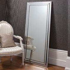Oversized Silver Gray FLOOR MIRROR Full Length Leaner Dressing ...