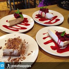 Anyone for dessert? Tiramisu & Raspberry White Chocolate Cheesecake. Instagram by @joeatsapples White Chocolate Cheesecake, White Chocolate Raspberry, Tiramisu, Plant Based, Restaurants, Ethnic Recipes, Desserts, Instagram, Food