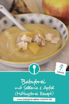 Babybrei mit Sellerie, Putenbrust und fruchtigem Apfel – ein Mittagsbrei Rezept mit Fleisch für Babys ab dem 7. Monat.