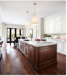 Modern Walnut Kitchen Cabinets Design Ideas - nicholas news Cherry Wood Cabinets, Two Tone Kitchen Cabinets, Kitchen Cabinet Design, Interior Design Kitchen, White Cabinets, Upper Cabinets, Oak Cabinets, Two Toned Kitchen, Timeless Kitchen Cabinets