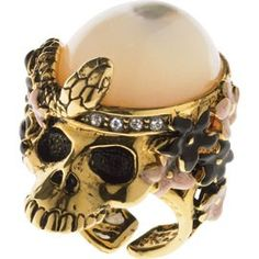 Ruby Marrow: Lydia Courtielle Xochimilco Garden Collection Y Mas Skull Jewelry, Skull Rings, Jewellery, Gold Skull, Skulls, Mourning Jewelry, Party Rings, Memento Mori, Black Enamel