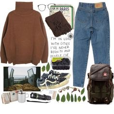 A fashion look from September 2015 featuring gray sweater, backpack laptop bag and stone jewelry. Browse and shop related looks. Mode Outfits, Retro Outfits, Vintage Outfits, Casual Outfits, Fashion Outfits, Dress Casual, Noora Style, Mode Lookbook, Outfit Goals