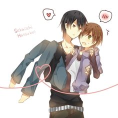 Masamune Takano & Ritsu Onodera, Sekai-Ichi Hatsukoi I love this pairing :D Plus this is my first yaoi anime.