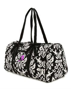 Belvah Large Quilted Damask Print Duffle Bag Chioce Of Colors Black Gold