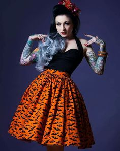 Halloween Skirts by Violets In May on Etsy Halloween Pin Up, Halloween Skirt, Halloween Outfits, Pin Up Outfits, Cute Outfits, Fashion Outfits, Pin Up Style, My Style, October Fashion