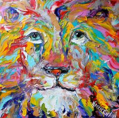 Karen's Fine Art – Original Lion painting Gallery Represented Modern Impressionism in oil.  Title: Portrait of a Colorful Lion Original oil