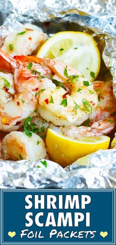 Baked Shrimp Scampi is tossed in a delicious garlic and butter white wine sauce, made in foil packets, and is healthy, low-carb, gluten-free and low-carb! Gluten Free Meal Plan, Gluten Free Recipes, Low Carb Recipes, Healthy Recipes, Whole30 Recipes, Healthy Foods, Fish Recipes, Seafood Recipes, Dinner Recipes