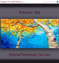 Sale Original abstract Tree art oil painting Looking Up forest on gallery wrap canvas Ready to hang by tim Lam 48x24 by elseart on Etsy https://www.etsy.com/listing/157365875/sale-original-abstract-tree-art-oil