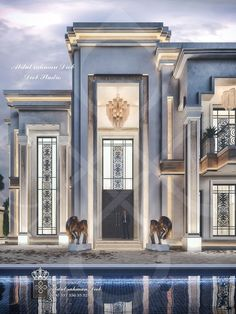 House Outside Design, Modern House Facades, Classic House Design, Courtyard Design, Home Building Design, Modern Bungalow, Luxury Homes Dream Houses, House Elevation, Facade Architecture