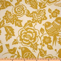 Thomas Paul Aviary Maize from @fabricdotcom  Designed by Thomas Paul for Duralee this fabric is screen printed on a cotton/linen blend this medium weight fabric is very versatile. This fabric is perfect for window treatments (draperies, valances, curtains, and swags), bed skirts, duvet covers, pillow shams, accent pillows, tote bags, aprons, slipcovers and upholstery. Colors include golden yellow on a tan background.